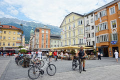 Cityscape of Innsbruck on Inn river Tirol Austria Stock Photo