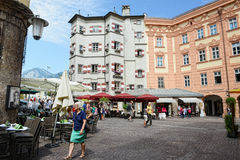 Cityscape of Innsbruck on Inn river Tirol Austria Royalty Free Stock Photo