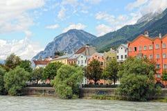 Cityscape of Innsbruck on Inn river Tirol Austria. Innsbruck, Tirol/ AUSTRIA July 9 2009: Cityscape of Innsbruck at Inn river promenade. Tirol Austria In stock photos