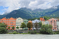 Cityscape of Innsbruck on Inn river Tirol Austria Stock Photography