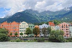 Cityscape of Innsbruck on Inn river Tirol Austria. Innsbruck, Tirol/ AUSTRIA July 9 2009: Cityscape of Innsbruck at Inn river promenade. Tirol Austria In stock photography