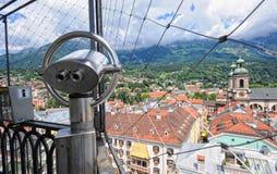 Cityscape of Innsbruck on Inn river Tirol Austria. Innsbruck, Tirol/ AUSTRIA July 9 2009:Cityscape of Innsbruck on Inn river Tirol Austria. View from top of stock photo