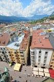 Cityscape of Innsbruck on Inn river Tirol Austria. Innsbruck, Tirol/ AUSTRIA July 9 2009:Cityscape of Innsbruck on Inn river Tirol Austria. View from top of royalty free stock images