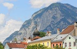 Cityscape of Innsbruck on Inn river Tirol Austria. Cityscape of Innsbruck at Inn river Tirol Austria in summer stock image
