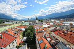 Cityscape of Innsbruck on Inn river Tirol Austria. Cityscape of Innsbruck at Inn river Tirol Austria in summer. View from observation platform above the royalty free stock photo