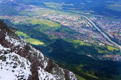 Cityscape of Innsbruck viewed at top, Austria. Cityscape of Innsbruck viewed at top stock photo
