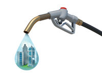 Cityscape inside of aa drop weeping from the fuel Stock Photography