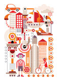 Cityscape. Isolated vector illustration on white Stock Image
