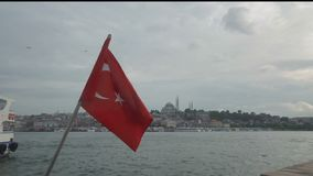 Cityscape of Istanbul with silhouettes of ancient mosques and minarets with turkish flag. Cityscape of Istanbul with silhouettes of ancient mosques and minarets stock video footage