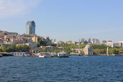 Istanbul panorama, Turkey, with Ortakoy royalty free stock photography