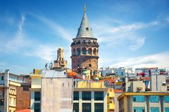 View on Galata Tower. Cityscape of Istanbul with the view on Galata Tower stock photo