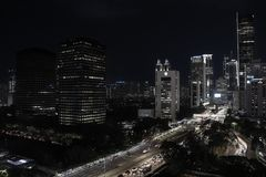 Cityscape of Jakarta at night stock photo