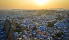 Cityscape of Jodhpur, India. Blue City at sunset in Jodhpur, India. Jodhpur is known as the Sun City for the bright and sunny weather it enjoys all the year Royalty Free Stock Photos