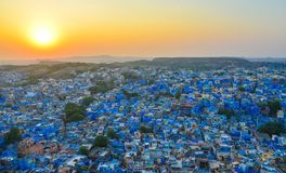 Cityscape of Jodhpur, India. Blue houses at sunset in Jodhpur, India. Jodhpur is known as the Sun City for the bright and sunny weather it enjoys all the year Stock Photography