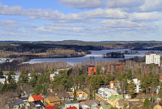 Cityscape of Jyvaskyla, Finland from the top of Harju hill Stock Photography
