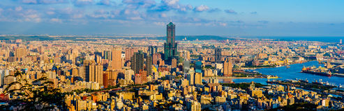Cityscape of Kaohsiung city, Taiwan. Skyline of Kaohsiung under the blue sky Stock Image