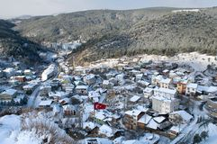 Cityscape of Kastamonu in Winter Stock Photo
