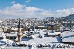 Cityscape of Kastamonu in Winter Royalty Free Stock Photos