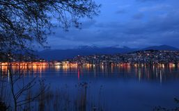 Cityscape of Kastoria, Greece royalty free stock photography