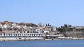 Cityscape Kavala, Greece. Landscape of seaside town of Kavala in Greece stock video