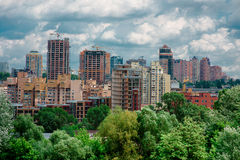 Cityscape on the Kiev in a cloudy day Royalty Free Stock Photos