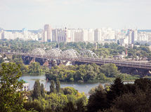 Cityscape of Kiev and Dnieper River. Stock Images