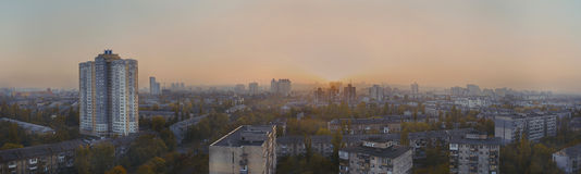 Cityscape of Kiev in the evening in autumn Royalty Free Stock Images