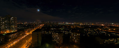 Cityscape of Kiev in the nigth in autumn Royalty Free Stock Photos