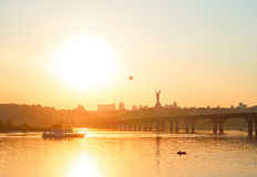 Cityscape of Kiev at sunset, Ukraine Royalty Free Stock Images