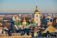 Cityscape in Kiev. View of St. Sophia Cathedral and bell tower,. City landscape in Kiev. View of St. Sophia Cathedral and bell tower, in the background Stock Photography