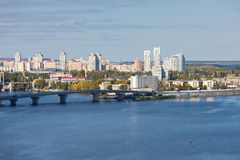 Cityscape of Kiyv on the left riverside of Dnipro Stock Photo