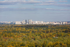 Cityscape of Kiyv on the left riverside of Dnipro Stock Images