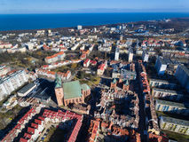 Cityscape of Kolobrzeg, Poland. Aerial view of the old town of Kolobrzeg in Poland, winter time Stock Photo