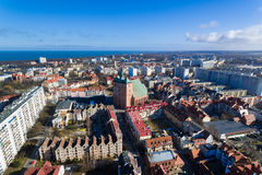 Cityscape of Kolobrzeg, Poland. Aerial view of the old town of Kolobrzeg in Poland, winter time Stock Images