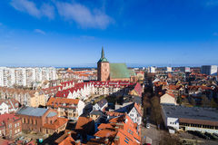Cityscape of Kolobrzeg, Poland. Aerial view of the old town of Kolobrzeg in Poland, winter time Royalty Free Stock Photo