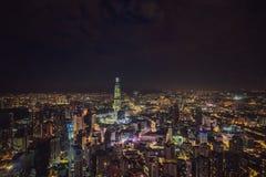 cityscape Kuala Lumpur Panoramautsikt av Kuala Lumpur stadshorisont på natten som beskådar skyskrapor som bygger i Malaysia arkivfoto