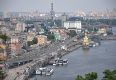 Cityscape of Kyiv, the capital of Ukraine, from above stock photography