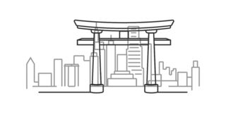 Cityscape of Kyoto, Japan outline illustration. On white background stock illustration