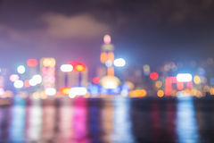 Cityscape lake view in twilight time, Blurred Photo bokeh Stock Photos
