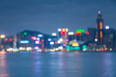 Cityscape lake view in twilight time, Blurred Photo bokeh Stock Image