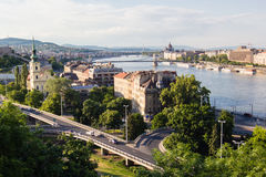 Cityscape landscape of bridges over Donau river in Budapest Royalty Free Stock Photos