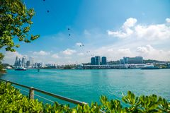 Cityscape and Landscape of Singapore. View of cable cars from Sentosa Island to HarbourFront cable car Station. stock photography