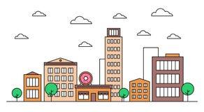 Cityscape landscape skyline design concept with buildings, scyscrapers, trees, clouds, donut shop cafe. Vector, graphic illustration. Editable stroke vector illustration