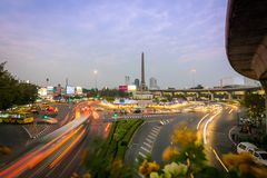 Cityscape and landscape of Victory Monument in Bangkok, Thailand. royalty free stock photography