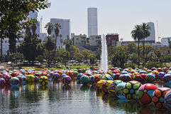 Cityscape of Large Balloons Floating in Los Angeles MacArthur Park Stock Image