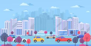 Cityscape with large modern buildings, urban transport, traffic on street, park with color trees and river. stock illustration