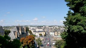 Cityscape of Le Mans, France. Cityscape of Le Mans. It is a city in France, on the Sarthe River. Filmed during the summer. Le Mans is located in the Pays de la stock footage