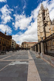 Cityscape of Leon with gotich cathedral and pedrestrian square. Cityscape of Leon with gotich cathedral on the right and square pedrestrian view in Spain Royalty Free Stock Images