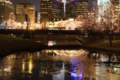 Cityscape with lighted trees. Stock Photos