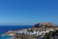 Cityscape of Lindos, Greece Stock Photo